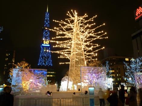 雪祭期間大通公園入夜燈飾