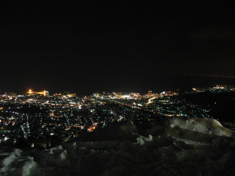 在天狗山山頂俯瞰小樽夜景
