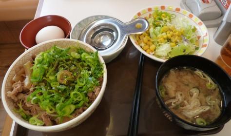 ねぎ玉牛丼(サラダセット)