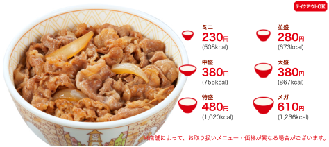 牛丼 - 六種大小類型選擇 (picture from Sukiya menu)
