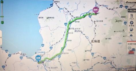 這是由札幌去旭山動物園行駛免費普通道路的路線圖, 可放大缩小來看,甚至點擊某段路來看也可